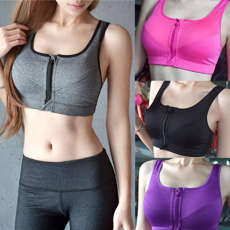 Women Running Shockproof Sports Bra Padded Wirefree With Front Sport9s